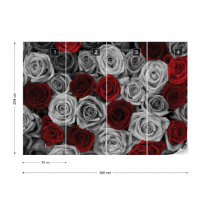 Red Roses Black And White Photo Wallpaper Wall Mural