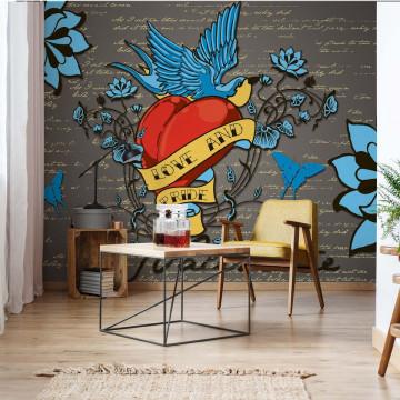 Retro Style Valentine Tattoo Photo Wallpaper Wall Mural