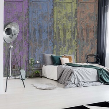 Rustic Painted Wood Doors Photo Wallpaper Wall Mural