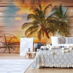 Rustic Tropical Beach Sunset Wood Planks Photo Wallpaper Wall Mural