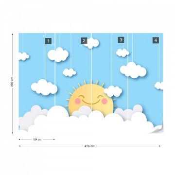 Soare Vesel printre Nori – Efect Papercut