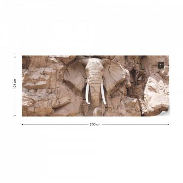Stone Elephant Photo Wallpaper Wall Mural