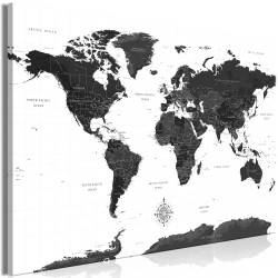 Tablou - Black and White Map (1 Part) Wide