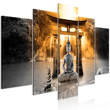 Tablou - Buddha Smile (5 Parts) Wide Orange