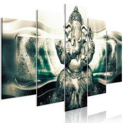 Tablou - Buddha Style (5 Parts) Green Wide