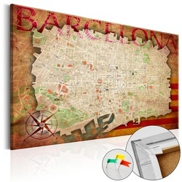 Tablou din plută - Map of Barcelona [Cork Map]