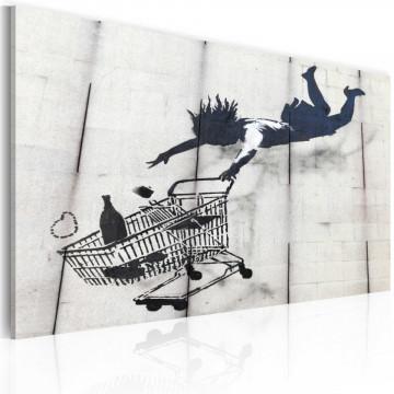 Tablou - Falling woman with supermarket trolley (Banksy)