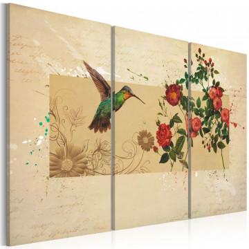 Tablou - Hummingbird and roses