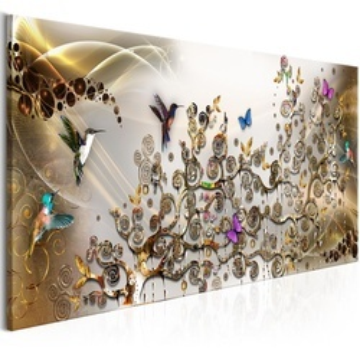 Tablou - Hummingbirds Dance (1 Part) Gold Narrow