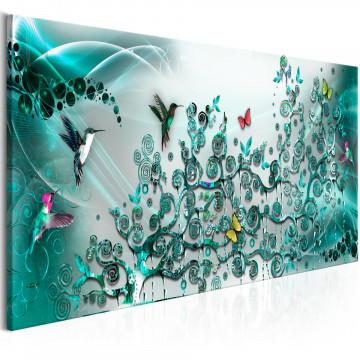 Tablou - Hummingbirds Dance (1 Part) Turquoise Narrow