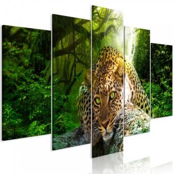 Tablou - Leopard Lying (5 Parts) Wide Green