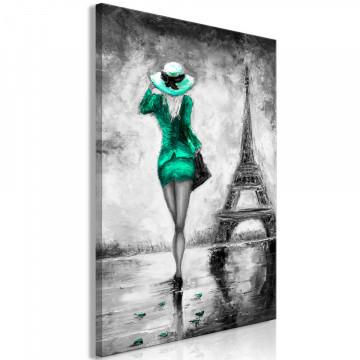 Tablou - Parisian Woman (1 Part) Vertical Green