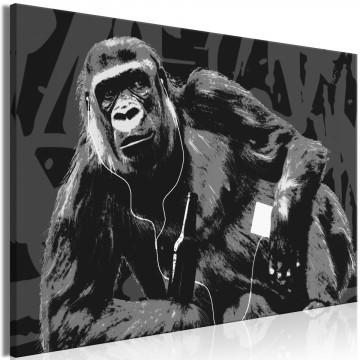 Tablou - Pop Art Monkey (1 Part) Narrow Grey