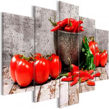 Tablou - Red Vegetables (5 Parts) Concrete Wide