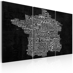 Tablou - Text map of France on the black background - triptych