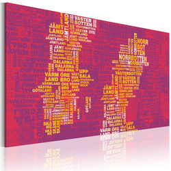 Tablou - Text map of Sweden (pink background)