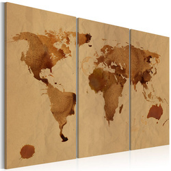 Tablou - The World painted with coffee - triptych