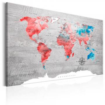 Tablou - World Map: Red Roam