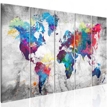 Tablou - World Map: Spilt Paint