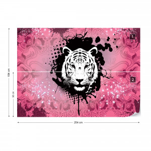 Tiger Pyschedelic Design Pink Photo Wallpaper Wall Mural
