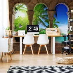 Tropical Beach View Through Stone Arches Photo Wallpaper Wall Mural