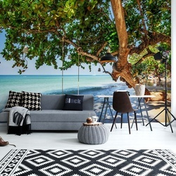 Tropical Island Beach Swing Photo Wallpaper Wall Mural