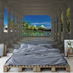 Tropical Lagoon 3D View Through Columns Photo Wallpaper Wall Mural