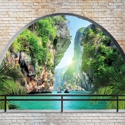 Tropical Lagoon Window View Photo Wallpaper Wall Mural
