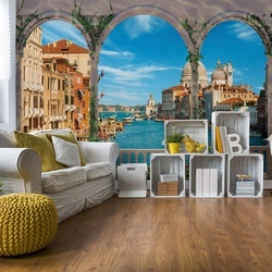 Venice Italy View Through Arches Photo Wallpaper Wall Mural