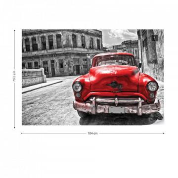 Vintage Car Cuba Havana Red Photo Wallpaper Wall Mural