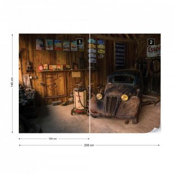 Vintage Car Dusty Garage Photo Wallpaper Wall Mural