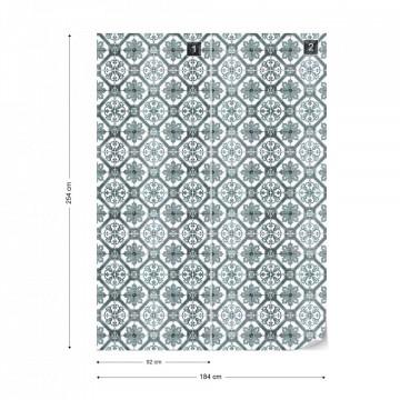 Vintage Tiles Pattern Blue Photo Wallpaper Wall Mural