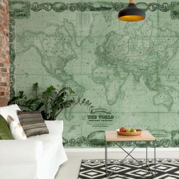 Vintage World Map II Green