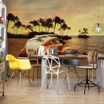 Vw Beetle Sunset Beach Photo Wallpaper Wall Mural