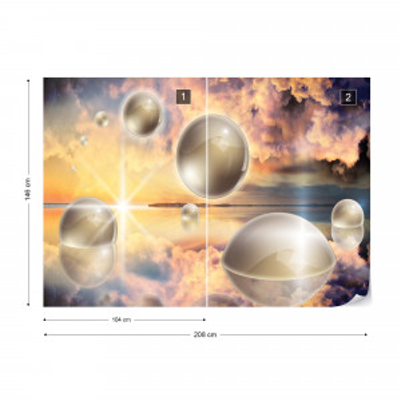 Water 3D Spheres Photo Wallpaper Wall Mural