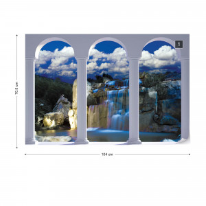 Waterfall 3D Archway View Photo Wallpaper Wall Mural