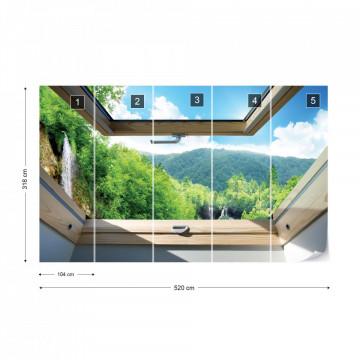 Waterfall Forest 3D Skylight Window View Photo Wallpaper Wall Mural
