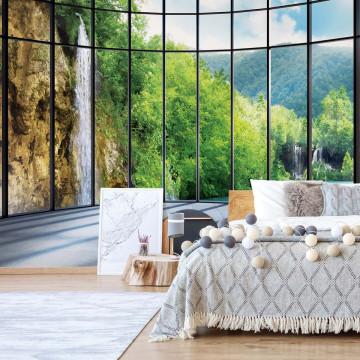 Waterfall Lake 3D Window View Photo Wallpaper Wall Mural
