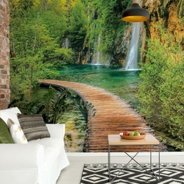 Waterfall Lake Walkway Forest Photo Wallpaper Wall Mural