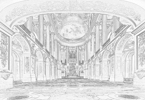 White And Grey Line Drawing Architecture Photo Wallpaper Wall Mural