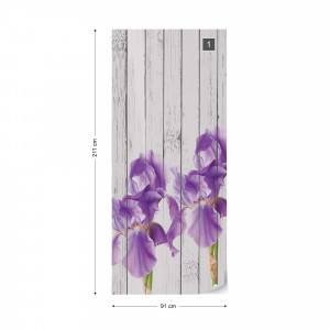 Wood Planks And Purple Flowers Vintage Chic Photo Wallpaper Wall Mural