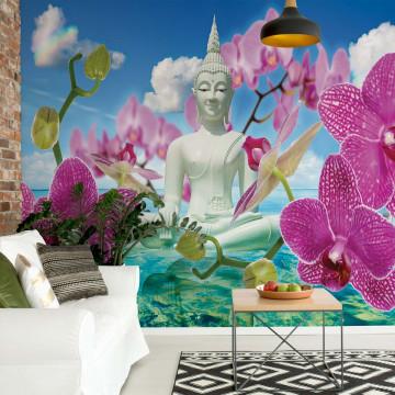 Zen Flowers Orchids Buddha Water Photo Wallpaper Wall Mural