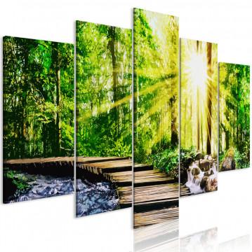 Tablou - Forest Footbridge (5 Parts) Wide