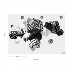 3D Black And White Cubes Photo Wallpaper Wall Mural