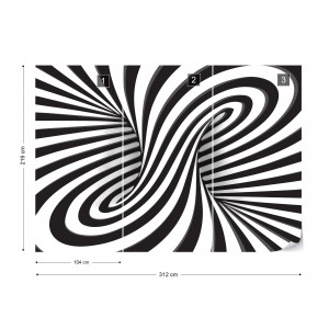 3D Black And White Twister Photo Wallpaper Wall Mural