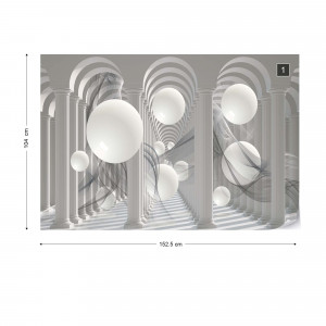 3D Columns Optical Illusion Photo Wallpaper Wall Mural