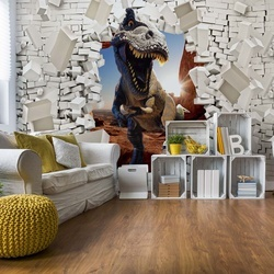 3D Dinosaur Bursting Through Brick Wall Photo Wallpaper Wall Mural