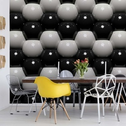 3D Grey And Black Ball Pattern Photo Wallpaper Wall Mural