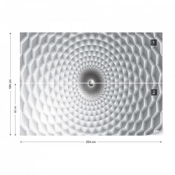 3D Grey Circular Design Optical Illusion Photo Wallpaper Wall Mural