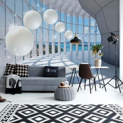 3D Modern Architecture Spheres Photo Wallpaper Wall Mural
